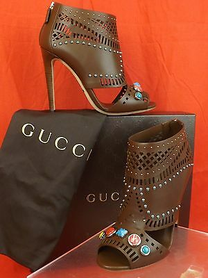 a245317f157 Nib Gucci Lika Laser Cut Brown Leather Jeweled Stones Ankle Boots 37.5 7+  371057