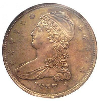 1837 Capped Bust Half Dollar 50C Coin - ANACS AU50 - Rare Certified Coin!
