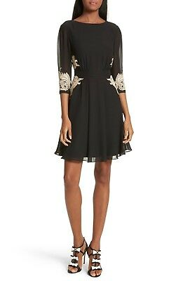 912cc5ed282a8 TED BAKER London Black Gold Floral Embroidered Gaenor Fit   Flare Dress 1  US ...