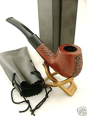 Wooden Smoking Pipe ASH Tobacco New Boxed Pouch & Stand NEW