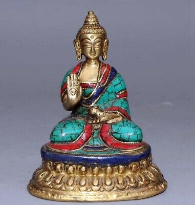 Collectable Bronze Gilding Inlay Turquoise Hand Carve Delicate Buddhism Statue