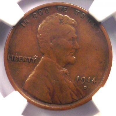 1914-D Lincoln Wheat Cent 1C - NGC VF20 (Very Fine) - Rare Key Date Penny!