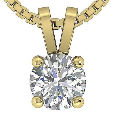 Solitaire Pendant Round Diamond SI1 G 0.25Ct Prong Set 14K Yellow Gold Appraisal