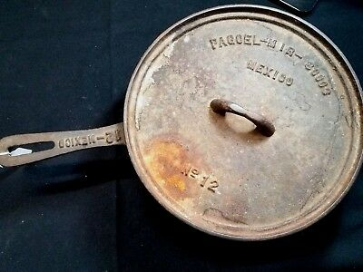 "No 12 Pagoel made in Mexico Cast Iron Skillet 3-Legged 10"" Dutch Oven 80003"