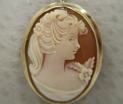 Antique / Vintage ~ RARE 9K Yellow Gold ~ Oval CAMEO Pendant & Brooch Pin Combo