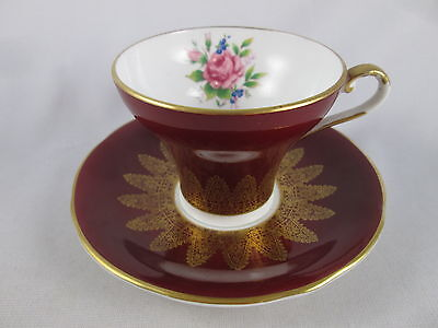 Aynsley Maroon Red & Gold Lace Corset Waist Cup & Saucer Set England Porcelain