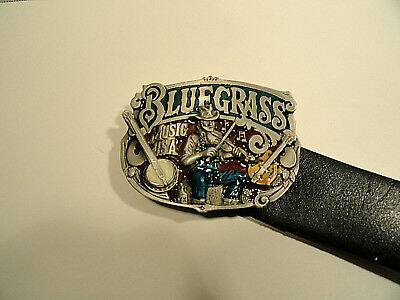 The Great American Buckle Company Blue Grass Music 1982 Buckle and Leather Belt