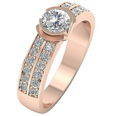 Semi Bezel Solitaire Ring I1 G 1.55 Ct Natural Round Cut Diamond 14K Rose Gold