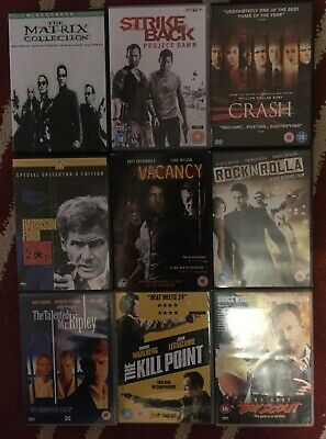 Small Bundle OF 9 dvds see pics for titles , Matrix, Kill Point, Crash & MORE