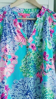 14f5b112613d8b Lilly Pulitzer Elsa Silk Blouse Multi Special Delivery Size X Small 16066