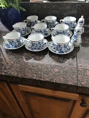 Set Of 9 Blue Danube Coffee Cups With Saucers: Plus Salt And Pepper Shakers