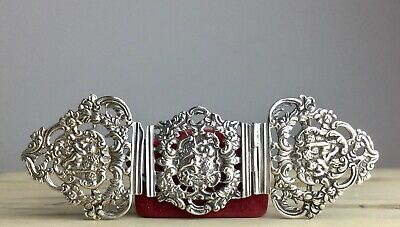 Antique Victorian Solid Sterling Silver Triple Nurses Buckle 1892 William Neale