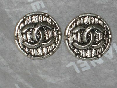 Chanel 2  Silver   Cc Logo Buttons  10  Mm / Small 1/2''  New Lot 2