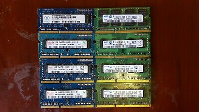 Lot of 8 Mixed Brand 10600S 2GB DDR3 PC3 Laptop Memory RAM