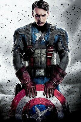 Captain America Marvel Large Movie Poster Canvas 20X30 Glossy Photo Paper 24X36
