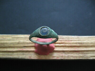 ANCIENT ROMAN BRONZE FINGER RING WITH LIGHT BLUE GLASS STONE 1-2 ct. A.D.