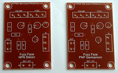 Fuzz Face Effect 2x Top Quality, Proffesionally Made PCB Stompbox PNP & NPN DIY