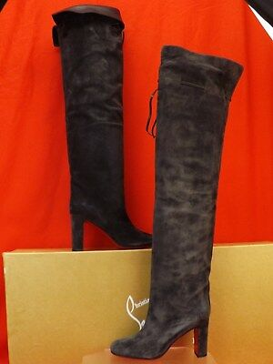 fa7c95d1c1d4 Nib Louboutin Alta Gant 85 Charcoal Gray Suede Over The Knee Boots 38  1995