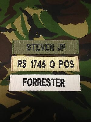 Official Military Webbing Name Tape Or Zap Badge Details Hook Backed ( X1 )