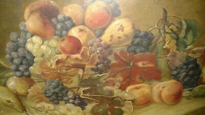 Nice antique Victorian 1800s 19thc still life fruits oil painting mystery artist