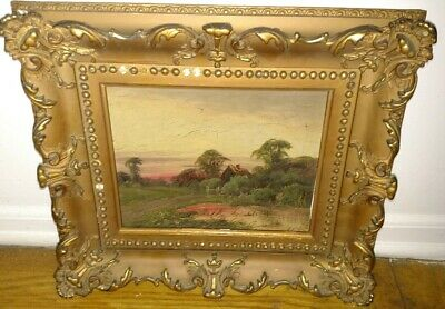 Antique oil on canvas painting landscape scene signed initials mystery artist