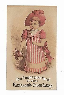 Old Medicine Trade Card Hartshorn's Cough Balsam Boxton Cure Little Girl