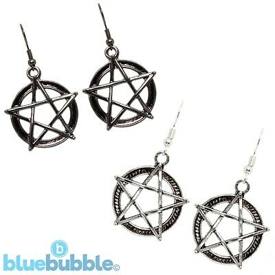 Bluebubble BLACK MAGIC Pentagram Star Earrings Wicca Pagan Punk Rock Emo Pendant