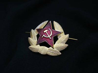 Soviet russian military hat cap metal red star hammer and sickle cockade
