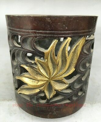 Chinese Bronze Gilt Copper hollow out Pen Container Brush Pot Penrack Statue e01