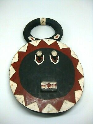 Antique Vintage African Hand Carved & Painted Wood Mask Face Tribal Wall Art