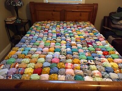 Vintage 1970s Bubble Puff Biscuit Quilt Handmade Hand Sewn