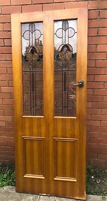 Heavy old timber 2 stained glass panel door. NO KEY.