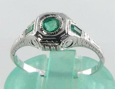 DAINTY 9k 9CT WHITE GOLD COLOMBIAN EMERALD ART DECO INS RING Size J
