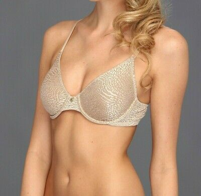 07c460bdb NATORI Lynx Unlined Molded Plunge Bra Underwire Lace 734048 Cafe Beige 34A  New
