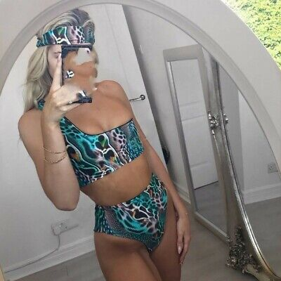 Woman headband+one shoulder Top pad Bra+bottom Swimsuit snake skin printed 19113