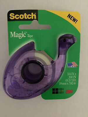"NEW Scotch Magic Tape 3/4"" x 300"" w / Designer Refillable Dispenser, Purple"