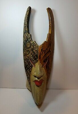 Bali Ethnic Tribal Wood Carved Mask Aflame By Sejati **US SELLER**