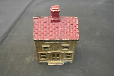 Antique Ac Williams Cast Iron 2 Story House Still Bank - Gold With Red Roof