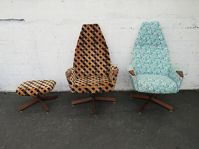 Brilliant Pair Kroehler High Back Adrian Pearsall Style Walnut Lounge Machost Co Dining Chair Design Ideas Machostcouk