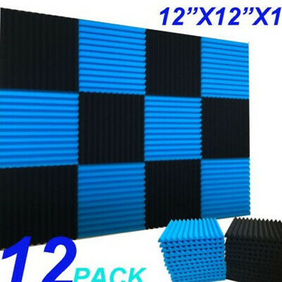 12 Pack Acoustic Panels Studio Soundproofing Foam Wedge tiles For KTV Room Set