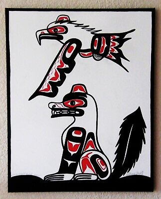 * The Wolf And The Thunderbird * Orig Signed And Dated Westcoast Salish Painting