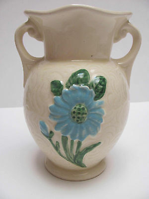 "Vintage Ceramic Hull Classic Pattern Vase 6"" tall Cream Color with Blue Flower"
