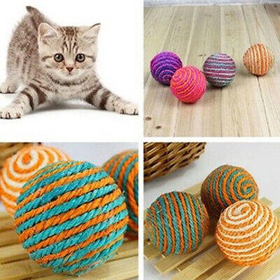 Pet Cat Sisal Rope Weave Ball Teaser Play Chewing Rattle Scratch Catch Toy Prett