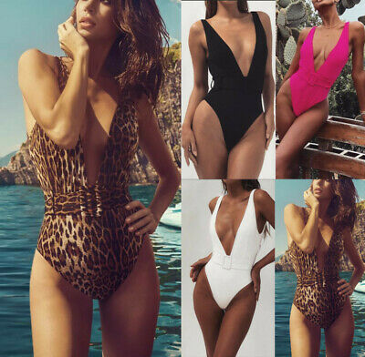 Sexy Woman padded Bra Monokini V-neck V-back belt Swimwear sleeveless S-L 19118