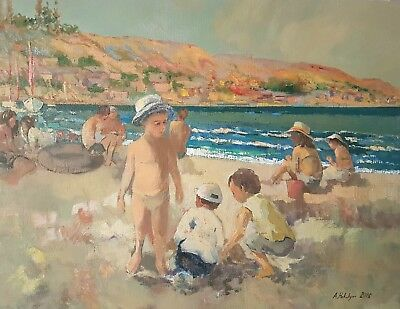 Playing with Sand. Original Oil Painting in Impressionist style, One of a Kind