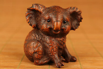Nice Chinese Old Boxwood Hand Carved koala Statue Big Netsuke Ornament NR