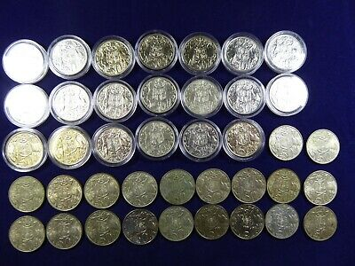 Lot of 1966 Australian silver round 50 cent coins - some higher grade in capsule