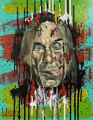 Art Painting Original Iggy POP Oil 16x20 Canvas Free Shipping