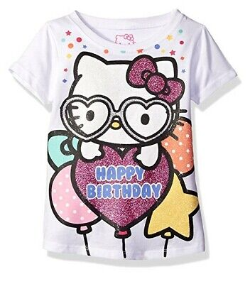 HELLO KITTY Toddler Girls Happy Birthday T Shirt MULTICOLOR 4T New