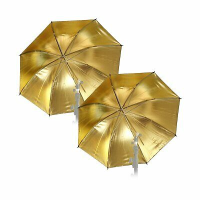 "2pcs 33"" 83cm Photo Studio Flash Light Reflector Reflective Black Gold Umbrella"
